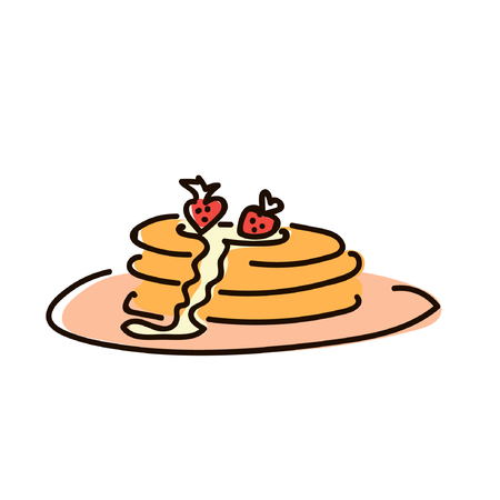 Pancakes with jam breakfast simple sketch pen style. flat iconic symbol