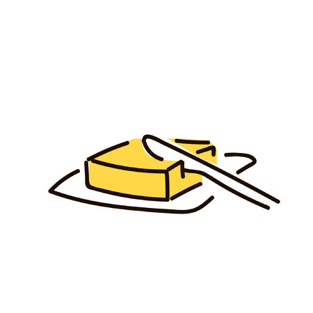 butter and knife. simple sketch pen style. flat iconic symbol