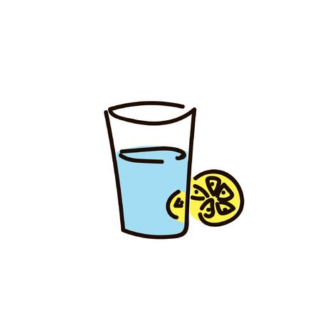 hot tea and slice of lemon simple sketch pen style. flat iconic symbol
