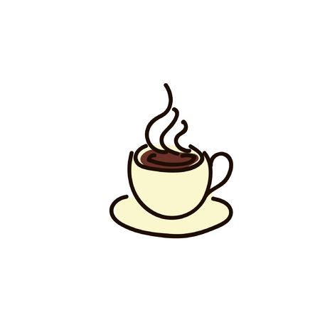 Coffee cup icon simple sketch pen style. flat iconic symbol