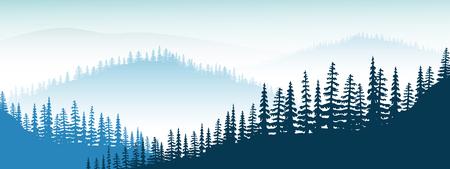 Paysage de montagne. crépuscule, montagnes lointaines, vallée, collines, forêt, brume, brouillard, sapins Vecteurs