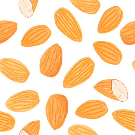 Almond on white background. Top view. Seamless vector pattern. Food healthcare cosmetics ointments oil. For cloth, decoration, wrapping, background, package