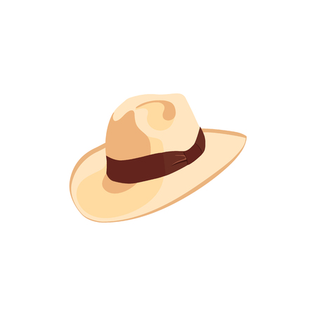Cowboy hat icon with ribbon or hat band. Simple cartoon hat illustration. floppy hat. broad-brimmed hat, Illustration