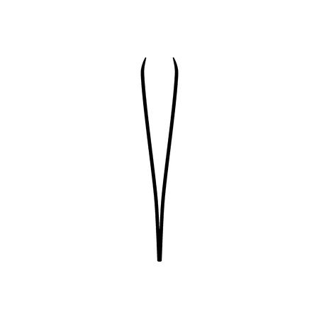 Augenbrauenpinzette, Pinzetten-Symbol. Vektor-Illustration. Epilation und Depilation. Hautpflege und Gesundheit. Schwarzes Symbol im flachen Stil