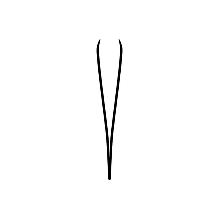 Eyebrow tweezers, pincers icon. Vector illustration. Epilation and depilation. Skin Care and Health. Black icon flat style
