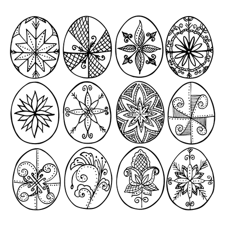 Easter eggs, Paschal eggs, decorated with beeswax - to celebrate Easter. old tradition. handmade doodle patterns. Sketch style. ink pen. Vector Illustration Your design Illustration