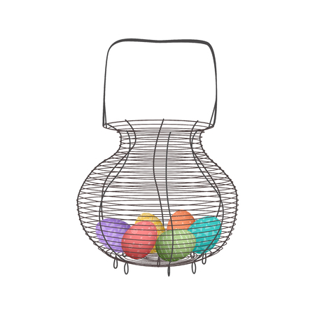Vintage wicker basket with doodle pattern easter eggs and handle, wicker for food and picnic. Vector illustration in flat style, green, brown, pink, blue, yellow, purple. For decoration, food design