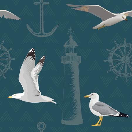 Wzór marynarki wojennej. Unoszące się i odpoczywające mewy, ster, koło sterowe, kotwica, latarnia morska. Styl szkicu grawerowanego atramentem, realistyczne ptaki. Ilustracja wektorowa. dekoracja, nadruki na niebieskim tle Ilustracje wektorowe