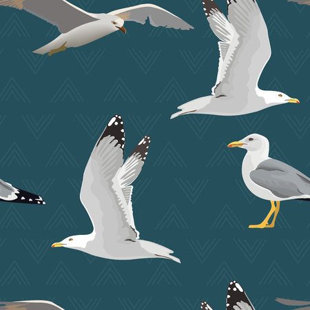 Sea gulls seamless pattern. Hovering, soaring, standing, with folded wings, resting, curious. Flying mew. long neck, white feathers, legs, yellow beak. Vector illustration Element for your design web print