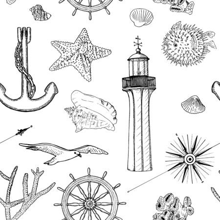 Naval seamless vector pattern set nautical silhouette symbols. Gulls, helm, steering wheel, anchor, light house, shell, wind rose, sea star, starfish