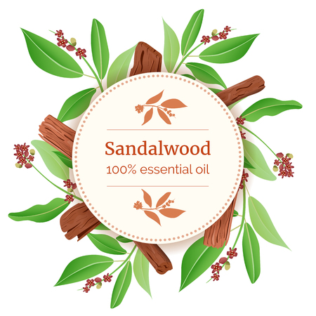 Sandalwood Round Circle badge. sticks and leaves card template with copy space. Card template