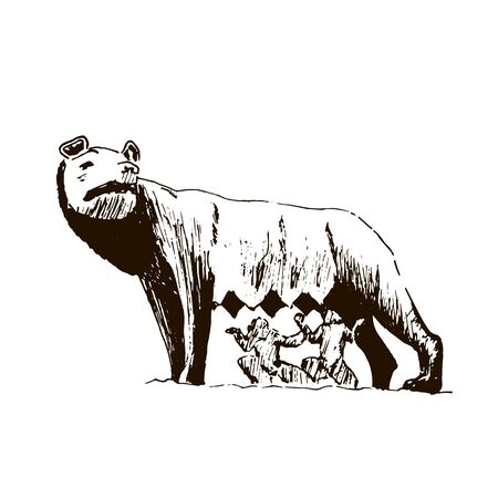 Capitoline Wolf. Rome city symbol. she-wolf t Beautiful hand drawn vector sketch illustration. Italy. isolated on white Vettoriali