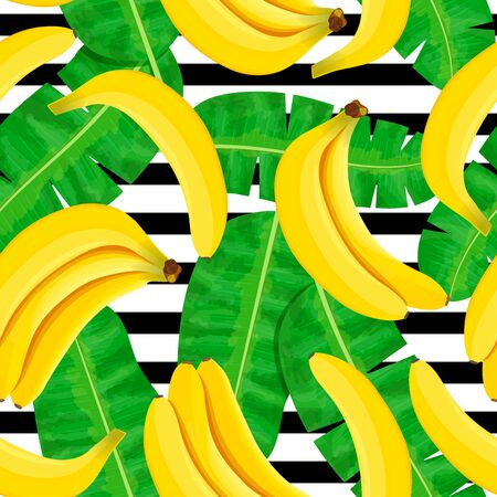 Bunch of Ripe bananas on white background. Striped seamless pattern. Whole fruits and green leaves. Foto de archivo - 133541645