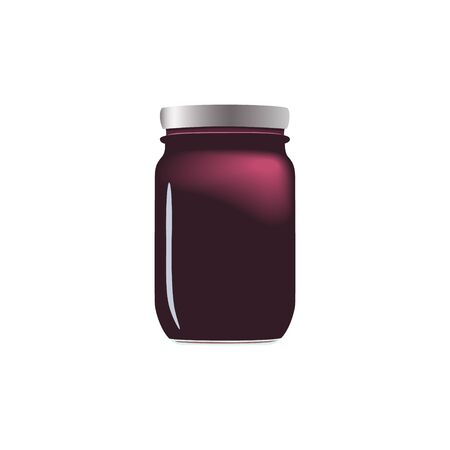 Purple jam jar glass isolated on white background. Mock up of vector jelly jar glass good for presentation of marmelade jar. Black currant, blueberry, blackberry. For tags, labels. 向量圖像