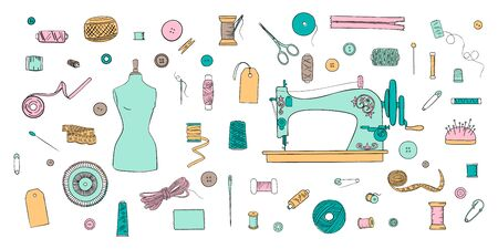 Color set of objects for sewing, handicraft. Sewing tools and sewing kit and equipment, needle, sewing machine, pin, yarn. vector set. For decoration, template, tags projects, tailor shop