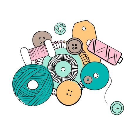 Sewing threads set as a multicolored background close up silhouette ink pen. Hand drawn engraving illustration, buttons, tag, minimalism sketch style