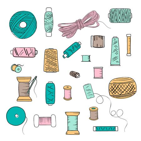 Sewing threads set as a multicolored background close up silhouette ink pen. Hand drawn engraving illustration, minimalism sketch style