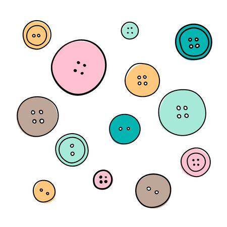 The big set of various colored buttons on the white. silhouette ink pen. Hand drawn engraving illustration, minimalism sketch style