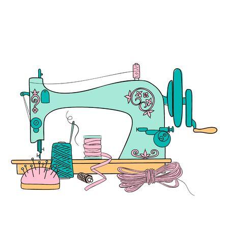 Ilustracja wektorowa Vintage maszyny do szycia. Nici do szycia sylwetka pióro atramentu. Ręcznie rysowane, guziki, tag, styl szkicu minimalizmu do druku, szablon plakatu, sklep krawiecki