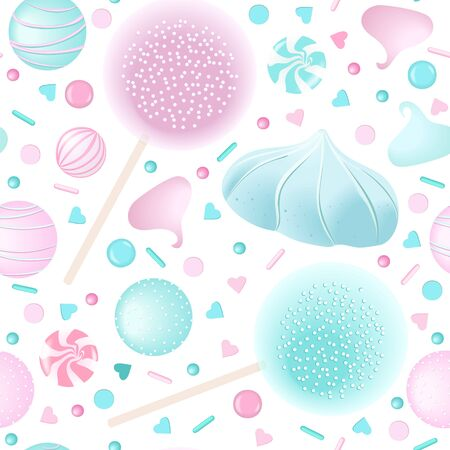 Confection candy seamless pattern set. White and pink marshmellows, lollipop, icing,