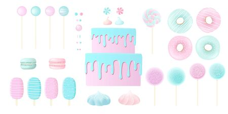 Confection candy sweet set. blue and pink marshmellows, lollipop, donuts, icing, different toppings