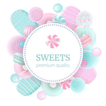 Confectionery set. Round label badge sweets. Macaroon, marshmallow, donuts, ice cream, lollipop
