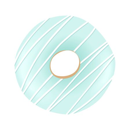 Sweet blue donut with striped icing and sprinkles isolated on white background. Vector illustration.