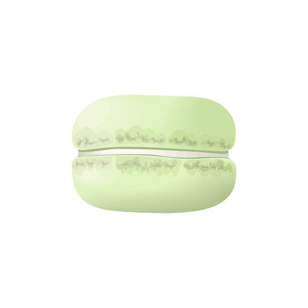 Cute green macaroon. Cake macaron with cream. Vector illustration. Culinary, pastry,