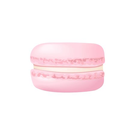 Cute rose macaroon. Cake macaron with cream. Vector illustration. Culinary, pastry