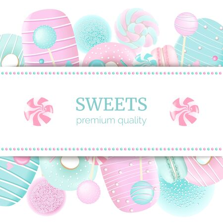 Confectionery label set with text on stripe. blue and pink. Marshmallow, Vettoriali