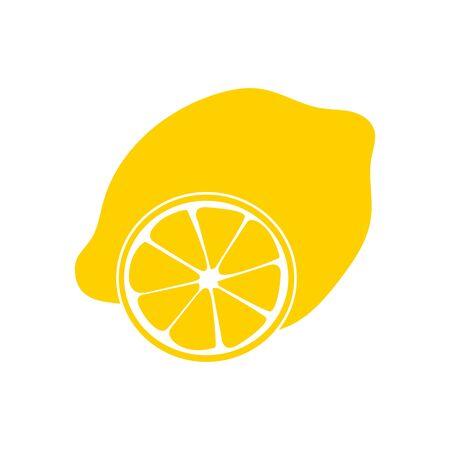 Limón con hojas aisladas sobre fondo blanco. Ilustración de vector de cartel decorativo, producto natural emblema, mercado de agricultores. ilustración vectorial plana para logotipo web