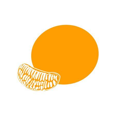 Tangerine or mandarin orange citrus fruit with leaf flat vector color icon for apps and websites flat Vector illustration for web logo Çizim