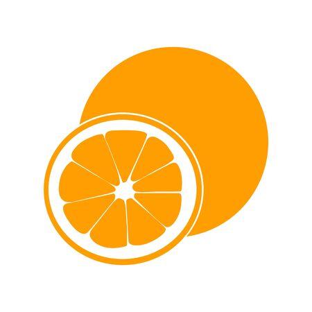 Orange fruit with leaf and slice. Vector illustration flat Vector illustration for web logo