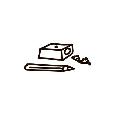 pencil and sharpener Graduation cap flat style cartoon ink pen Icon vector illustration Vector illustration for web Foto de archivo - 138296750