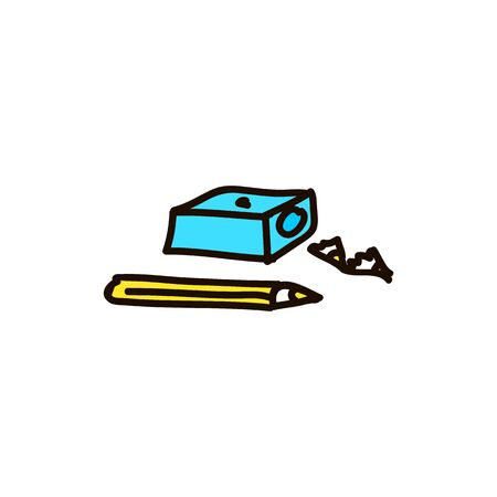 pencil and sharpener Graduation cap flat style colored cartoon ink pen Icon vector illustration Vector illustration for web Foto de archivo - 138296769
