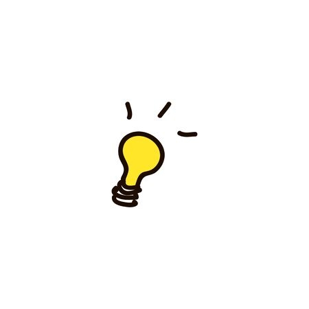 Light Bulb line icon vector, isolated on white background. Idea sign, solution, thinking concept. Lighting Electric lamp. Electricity, cartoon ink pen Icon sketch style Vector illustration for web Ilustracja