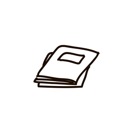 heap of magazines, journals. aper sheets, notebook, notes, writing twext book, book image cartoon ink pen Icon sketch style Vector illustration for web Vettoriali