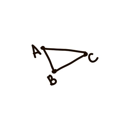 Vector abstract triangle ABC. cartoon ink pen Icon sketch style Vector illustration for web Иллюстрация