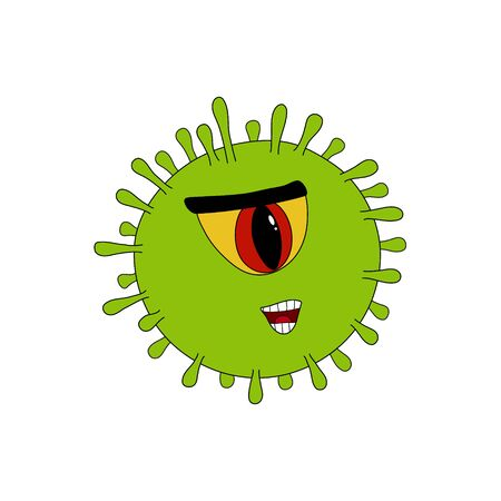 COVID-19 common human green virus or coronovirus bacteria with one eye viral Cyclops with toothy mouth, close up cartoon