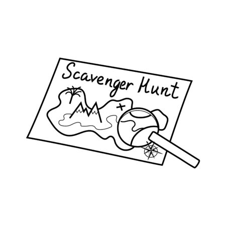 Scavenger hunt icon, Geocaching silhouette hand drawn illustration. Ink pen sketch style. icon for your design, prints, wallpaper, web infographics Hobby game