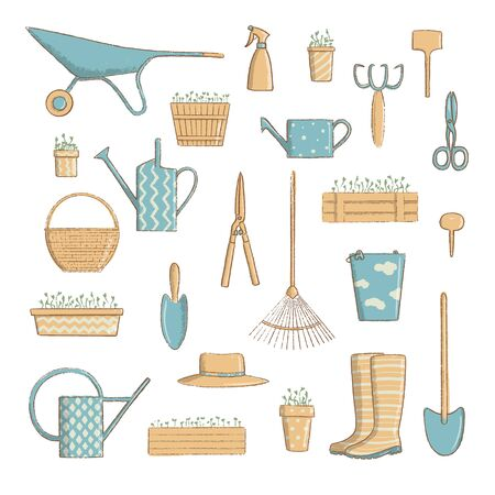 gardening icon set. Collection of useful horticulture tools spade, hat etc. cartoon vintage style, vector illustration.