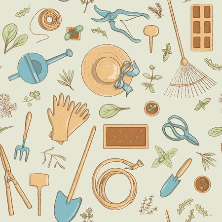 Top view gardening icon seamless pattern set. Collection of useful horticulture tools spade, hat etc. Çizim