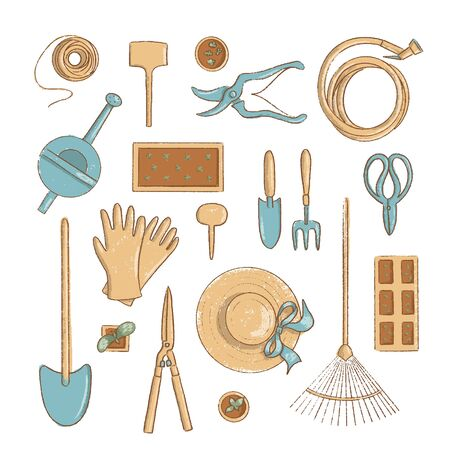 Top view gardening icon set. Collection of useful horticulture tools spade, hat etc. cartoon vintage style