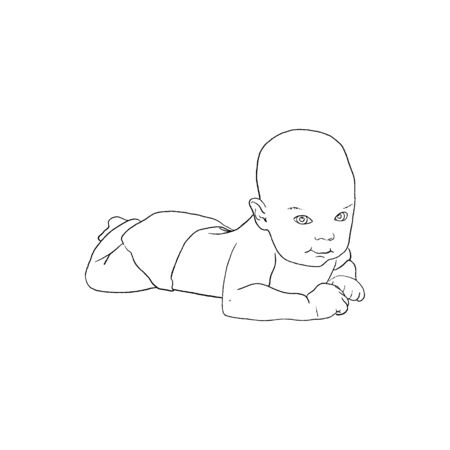 A cute little smiling baby lying. Closeup newborn baby in diapers. hand-drawn Vectores
