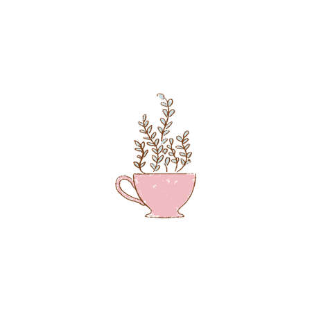 pink red cup with tree. tea cup with plant. hand-drawn vintage grunge style colorful cartoon