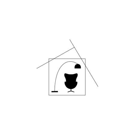 Symbol of the house. Home concept with chair and lamp. interior. vector illlustration. Illustration