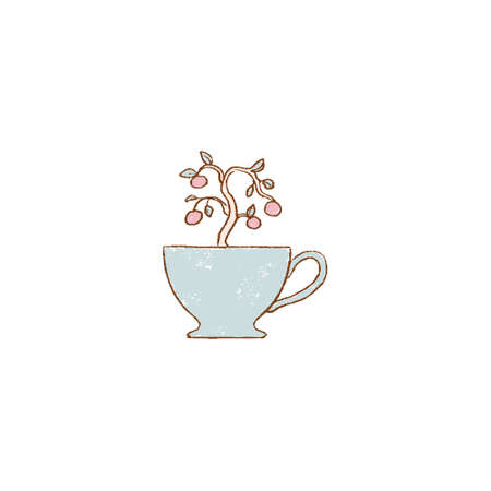 blue cup with tree. tea cup with plant. hand-drawn vintage grunge style colorful cartoon