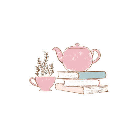 stack of Old books, red teapot and cup. hand-drawn vintage grunge style colorful cartoon