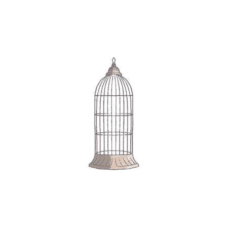 vintage bird cage isolated on white background Illustration