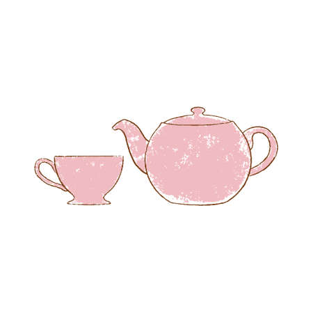 red teapot and cup hand-drawn vintage grunge style colorful cartoon isolated